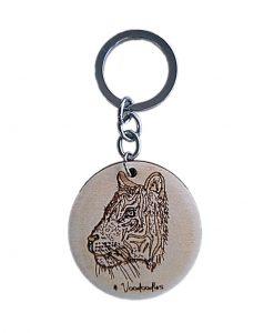 Tiger Wooden Keychain
